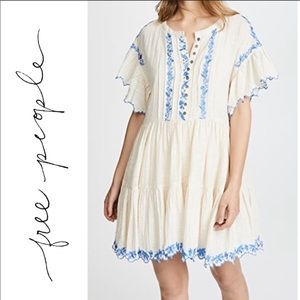Free People Cream Linen Dress with Blue Embroidery